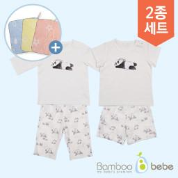 """温和的竹子solsol熊猫7部分内衣套装+短袖内衣套装(6〜24个月) <br> <font color=""""d2446c""""><b>[提出了一个设计环毛巾!]</b></font>"""