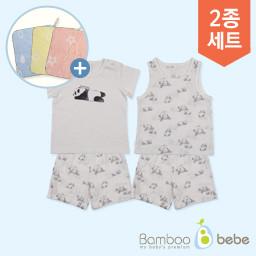 "温和的竹子solsol熊猫无袖内套+短袖内套(6〜24个月) <br> <font color=""d2446c""><b>[提出了一个设计环毛巾!]</b></font>"