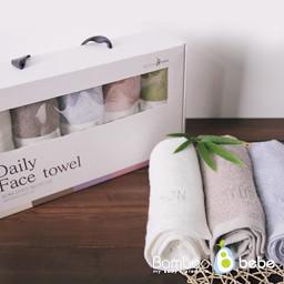 温和的竹日常洗脸毛巾<br> [5件套]