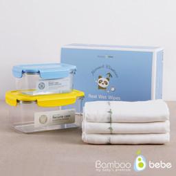 轻度竹实湿纸巾<br> 30条纱布手帕+盒2个